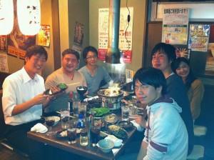 練習後の楽しいお食事。先生方ありがとうございました。